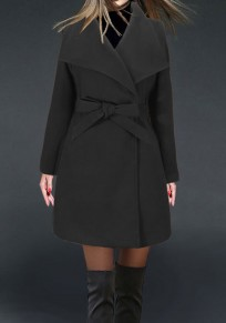 Black Belt Bow Turndown Collar Long Sleeve Fashion Coat
