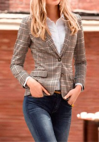 Khaki Plaid Single Breasted Fitted Notch Lapel Long Sleeve Claasic Elegant Workwear Check Blazer