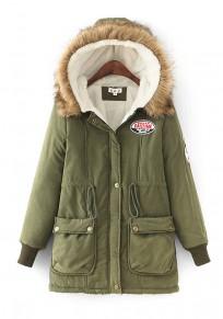 Armee-grüne Taschen Reißverschluss Mit Fell Kapuze Teddyfutter Winter Mantel Warme Parka Damen