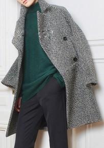 Schwarz-Weiß Plaid Knöpfe Turndown Kragen Langarm Mode Mantel