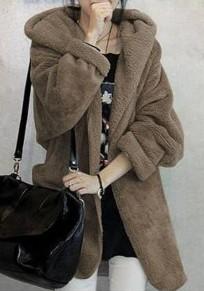 Abrigo cinturón irregulares con capucha sin botón manga larga lana de rebeca de color caqui