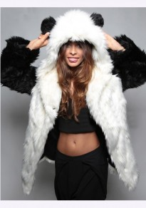 White Pockets Eye Long Sleeve Cute Faux Fur Hooded Coat