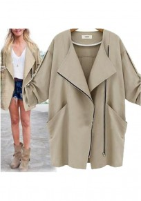 Khaki Pockets Zipper Tailored Collar Fashion Trench Coat
