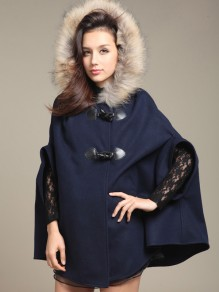 Marineblau Schleife Mit Fellkapuze Warme Wollmantel Elegantes Poncho Cape Damen Mode