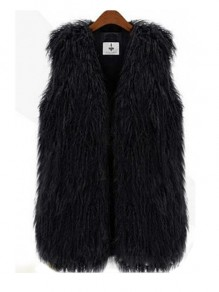 Black Faux Fur Plus Size Sleeveless Fashion Cardigan Vest
