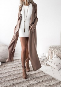 Khaki Pockets Cut Out Turndown Collar Casual Trench Coat