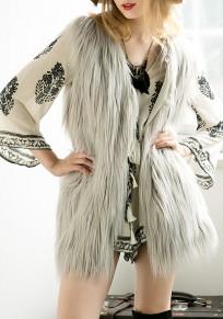 Abrigo chaleco irregulares de la piel sintética más tamaño sin mangas manera gris