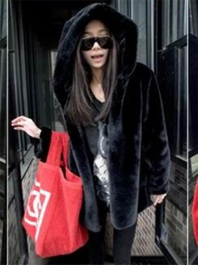 Black Draped Faux Fur Vest Hooded Long Sleeve Fashion Coat