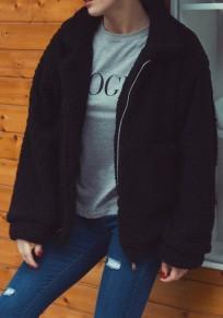 Black Fur Pockets Zipper Long Sleeve Boyfriend Fashion Outerwear