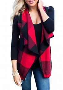 Red Plaid Print Pockets Irregular Turndown Collar Fashion Vest Coat