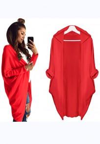 Manteau uni irrégulière à capuche décontracté cardigan rouge