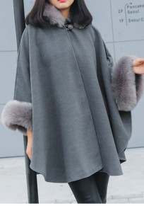 Grey Patchwork Irregular Fur Collar 3/4 Sleeve Cape Coat