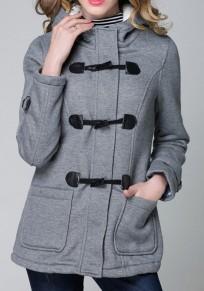 Graue Knöpfe Lange Ärmel Einreiher Mode Oberbekleidung