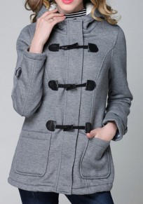 Ropa de abrigo botones manga larga pechos moda gris