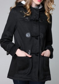 Manteau corne bouton à capuche manches longues hiver femme parka noir
