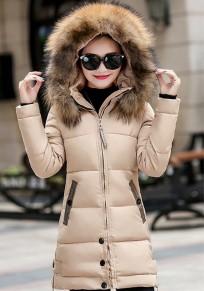 Manteau doudoune rembourré lumière fourrure à capuche hiver mode beige femme