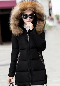 Ropa de abrigo bolsillos de piel con cremallera con capucha manga larga moda negro