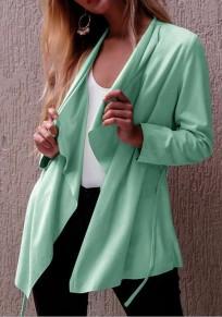Abrigo fajas irregulareses manga larga cárdigan de moda verde