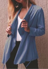 Blaue Langarm Lässige Cardigan Outwear Mode Damen Oberteile Mantel Mit Gürtel
