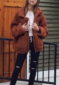 Manteau col fourrure col rabattu manches longues cardigan en laine d'agneau camel foncé
