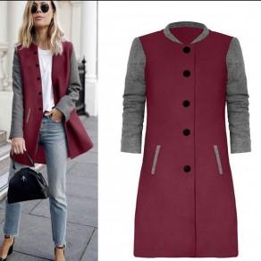 Manteau impression col rond poitrine décontracté rouge lie de vin