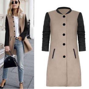 Khaki Black Patchwork Print Round Neck Single Breasted Casual Coat