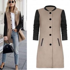 Manteau mi-longue en laine boutonnage col ronde manches longues femme mode noir et khaki