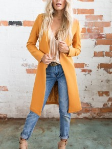 Orange V-Ausschnitt Langarm Warme Winter Outwear Lang Wollmantel Cardigan Damen Mode