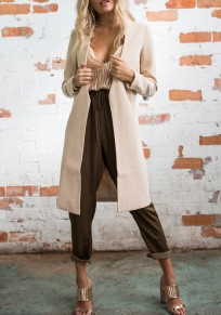 Apricot V-neck Long Sleeve Fashion Dacron Wool Coat