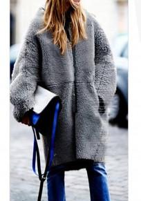 Manteau mi-longue teddy fausse fourrure manches longues femme hiver mode gris