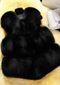 Black Fur Collarless Sleeveless Winter Party Fashion Coat