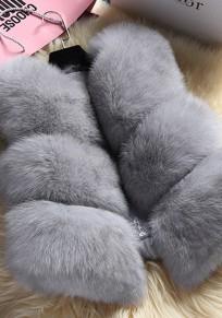Light Grey Fur Collarless Sleeveless Winter Party Fashion Coat