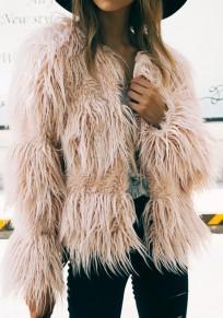 Cappotto drappeggiato manica lunga moda in pelliccia sintetica rosa