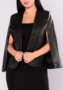 Black Irregular PU Leather Tailored Collar Sleeveless Cloak Fashion Coat