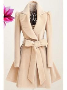 Beige Draped Sashes Bow Turndown Collar Long Sleeve Coat