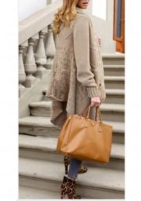 Khaki Pockets Irregular Turndown Collar Long Sleeve Fashion Cardigan Coat