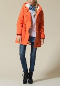 Orange Plain Buttons Pockets Drawstring Hooded Casual Coat