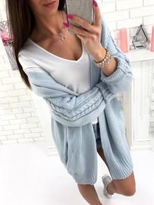 Blau Taschen Zopfmuster Langarm Warmer Lässige Cardigans Strickjacke Mantel Damen Mode