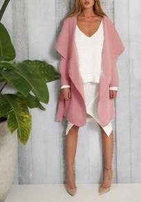 Rosa Unregelmäßige Taschen Schärpen Umlegekragen Langarm TrenchMantels