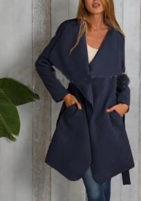 Marineblau Unregelmäßig Taschen Mit Gürtel Umlegekragen Langarm Mantel Cardigan Trenchcoat Damen Mode