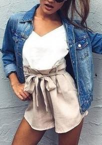 Dunkelblau Taschen Umlegekragen Einreihig Mode Damen Jeansjacke Mantel Herbstmantel