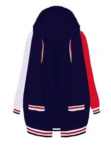 Manteau poches bleu-blanc-rouge foncé à capuche manches longues mode
