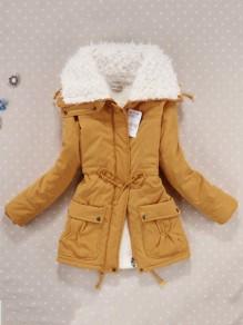 Gelb Umlegekragen Tunnelzug Taschen Reißverschluss Lässige Winter Warmer Parker Mantel Damen