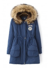 Dark Blue Patchwork Pockets Drawstring Faux Fur Hooded Casual Winter Parka Coat