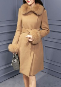 Camel Patchwork Sashes Fur Collar Long Sleeve Fashion Coat