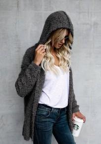 Manteau fourrure à capuche manches longues cardigan mode gris foncé