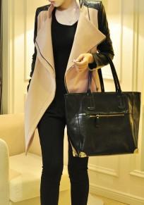 Khaki Flickwerk PU Leder unregelmäßigen Reißverschluss Umlegekragen Langarm Mode Mantel
