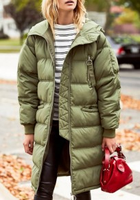 Army Green Pockets Zipper Hooded Long Sleeve Cardigan Coat