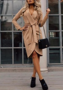 Brown Pockets Sashes Turndown Collar Long Sleeve Fashion Trench Coat