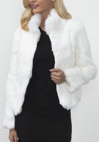 White Band Collar Long Sleeve Fashion Faux Fur Coat